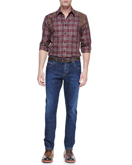 Alexander McQueen Plaid Leather-Harness Shirt & Stone-Wash Stretch-Denim Jeans