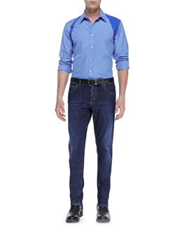 Alexander McQueen Contrast Harness Shirt & Stone-Wash Stretch-Denim Jeans