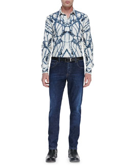 Alexander McQueen Thistle-Print Long-Sleeve Shirt & Stone-Wash Stretch-Denim Jeans