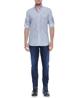 Alexander McQueen Allover Skull-Print Shirt & Stone-Wash Stretch-Denim Jeans