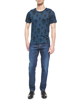 Alexander McQueen Allover Skull-Print Tee & Stone-Wash Stretch-Denim Jeans