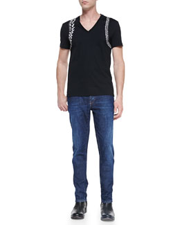 Alexander McQueen Skeleton-Harness V-Neck Tee & Stone-Wash Stretch-Denim Jeans