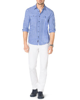 Michael Kors  Multi-Check Two-Pocket Shirt & Stretch Calvary Jeans