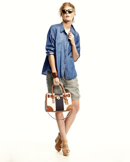 Eileen Fisher Long-Sleeve Chambray Shirt, Organic Linen City Shorts & Oxidized Jacquard Scarf, Petite