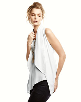 Eileen Fisher Asymmetric Draped Shell, Shawl-Collar Vest & Stretch Skinny Jeans, Petite