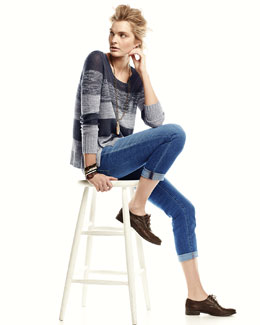 Eileen Fisher Blurred Striped Organic Linen Top & Stretch Boyfriend Jeans, Petite