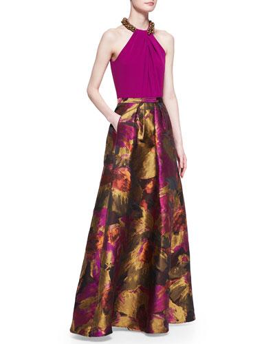 Carmen Marc Valvo Beaded-Neck Halter Top & Abstract Floral-Print Ball Skirt