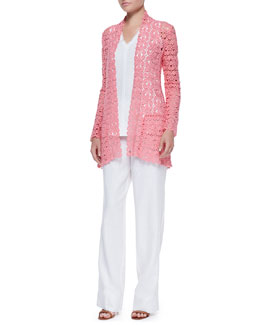 Neiman Marcus Embroidered Open-Weave Topper, Silicon Washed Linen Tank Top & Pants