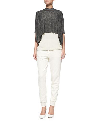 3.1 Phillip Lim Elbow-Sleeve Layered Shimmery Shirt & Slim Drawstring Sweatpants