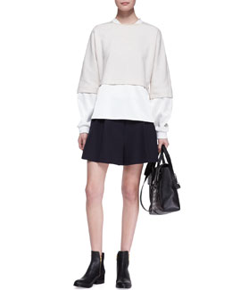 3.1 Phillip Lim Double-Layer Combo Sweatshirt and Pleated Wide-Leg Shorts