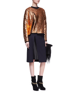 3.1 Phillip Lim Crackled Metallic Cutaway Sweatshirt and Leather-Layer Slit Pencil Skirt