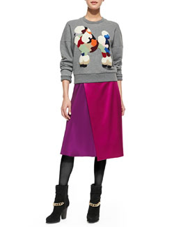 3.1 Phillip Lim Dropped-Shoulder Poodle Sweatshirt and Two-Tone Draped Midi Skirt
