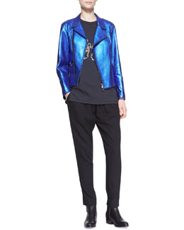 3.1 Phillip Lim Boxy Metallic Leather Moto Jacket, Lights Out Combo Tank Top & Pull-On Draped Pocket Trousers