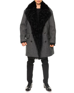 Dolce & Gabbana Herringbone Shearling Double-Breasted Coat & Textured Crewneck Sweater & Seam-Detail Skinny Pants