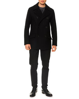 Dolce & Gabbana Wool-Blend Double-Breasted Pea Coat, Fleck King-Graphic Tee & Seam-Detail Skinny Pants