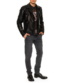 Dolce & Gabbana Shield-Print Jersey Tee & Leather-Blend Asymmetric-Zip Biker Jacket
