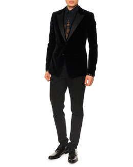 Dolce & Gabbana Velvet Evening Jacket with Suede Lapels, Gothic-Print Button-Down Shirt & Seam-Detail Skinny Pants