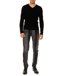 Dolce & Gabbana Textured V-Neck Sweater & Patch Stripe Straight-Leg Jeans