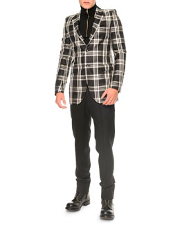 Alexander McQueen Large Plaid Two-Button Blazer and Zipper Turtleneck Sweater
