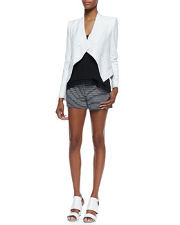 BCBGMAXAZRIA Lloyd Draped Open-Front Jacket, Lyssa Sheer-Trim Sleeveless Tank & Pia Striped-Knit Shorts