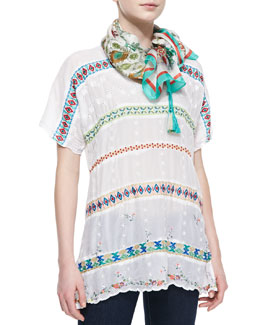 Johnny Was Collection Colorful Daisy Eyelet Blouse & Ornament Lilac Printed Silk Scarf