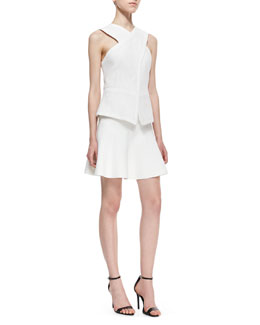 BCBGMAXAZRIA Munson Cross-Front Cutout-Back Vest & Ingrid A-Line Stretch-Knit Skirt