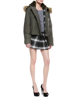 McQ Alexander McQueen Faux-Fur Hooded Cropped Jacket, Short Leopard-Print Intarsia Sweater & Campbell Plaid Pleat Skirt