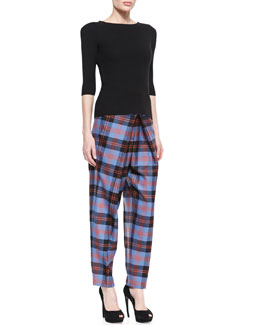 McQ Alexander McQueen Felted Peak-Shoulder Sweater and Inverted-Pleat Plaid Tartan Trousers