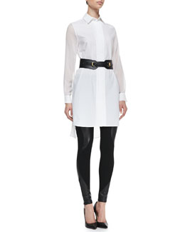 McQ Alexander McQueen Poplin & Sheer Shirtdress, Leather/Knit Swirl-Panel Leggings and Equestrian Faux Leather Cinch Belt