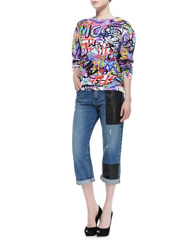 Graffiti Sweatshirt & Faux-Leather-Patched Boyfriend Jeans
