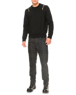 Alexander McQueen Zipper Detail Jersey Sweatshirt and Tonal Plaid Denim Jeans
