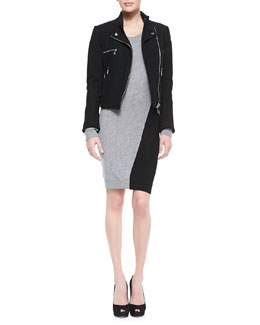 McQ Alexander McQueen Felt Cropped Biker Jacket & Knit Swirl-Colorblock Sweater Dress