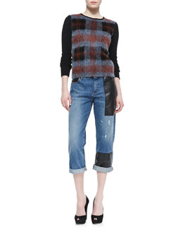 McQ Alexander McQueen Mohair Plaid-Front Crewneck Sweater & Faux-Leather-Patched Boyfriend Jeans