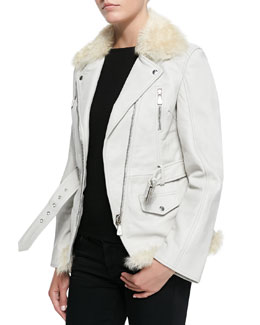 McQ Alexander McQueen Shearing/Vachetta Zip Moto Jacket & Felted Peak-Shoulder Sweater