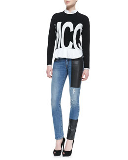 McQ Alexander McQueen McQ Logo Cropped Sweater, Flounce-Bottom Mid-Seam Shirt & Faux-Leather Patch Skinny Jeans