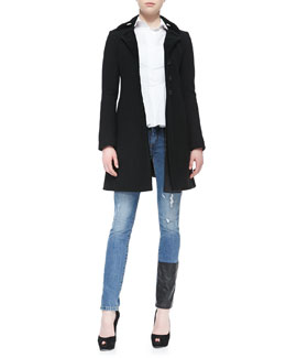 McQ Alexander McQueen Felt Pleated 3-Button Jacket & Cotton Flounce-Bottom Mid-Seam Shirt & Felt Pleated 3-Button Jacket