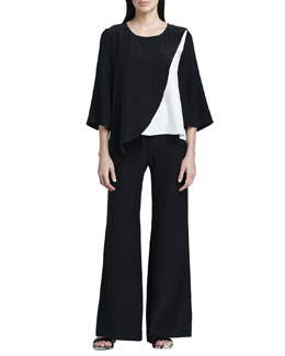 Neiman Marcus Colorblock Silk Blouse & Drawstring Pants