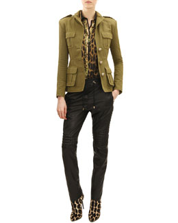 Balmain Three-Button Four-Pocket Military Jacket, Long-Sleeve Leopard/Jungle Print Blouse & Drawstring Waist Leather Moto Pants