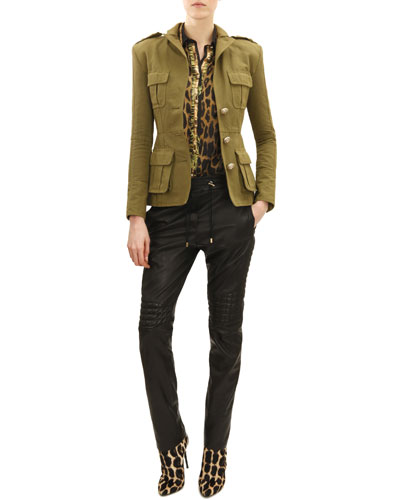 Three-Button Four-Pocket Military Jacket, Long-Sleeve Leopard/Jungle Print Blouse & Drawstring Waist Leather Moto Pants