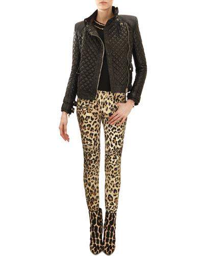 Balmain Quilted Leather Moto Jacket, Sleeveless Double-Row Golden Stud-Trim Top & Leopard-Print Moto Pants