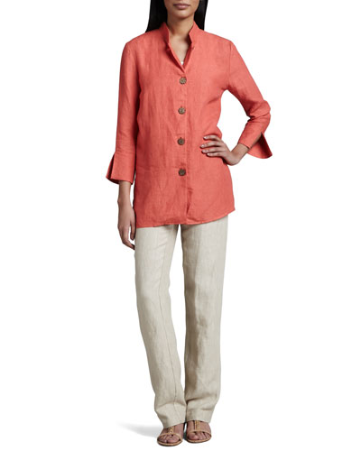 Neiman Marcus Linen Wooden-Button Jacket & Relaxed Linen Trousers