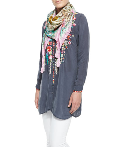 Johnny Was Collection Eyva Embroidered Long Tunic & Serrano Printed Silk Scarf