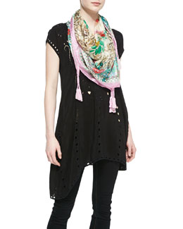Johnny Was Collection Tessa Asymmetric Cutout Tunic & Serrano Printed Silk Scarf