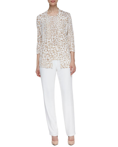 Neiman Marcus Open-Front Animal-Print Cardigan, Animal-Print Tank & Relaxed-Fit Silk Pants