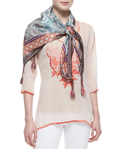 Johnny Was Collection 3/4-Sleeve Embroidered Baudelio Blouse & Lasso-Print Silk Scarf