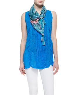 Johnny Was Collection Eyelet Pintucked Sleeveless Tunic & Aziz Printed Silk Scarf
