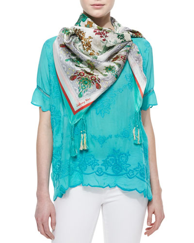 Johnny Was Collection Short-Sleeve Embroidered Rose Scalloped Top & Ornament Lilac Printed Silk Scarf