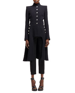 Alexander McQueen Arch-Front Military-Style Coat & High-Waist Cropped Pants