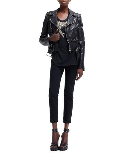 Cropped Stud-Trim Moto Jacket, Iris Embellished Knit Tank & High-Waist Cropped Pants