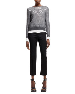 Alexander McQueen Spider-Lace Knit Long-Sleeve Top and High-Waist Cropped Pants